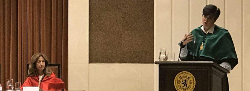 La profesora de Derecho Canónico, Carmen Peña, en la apertura del curso de la Universidad Pontificia de Comillas/J.B.