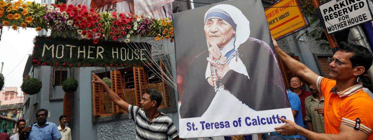 Madre Teresa Calcuta poster en la casa de las Misioneras de la Caridad en Calcuta India