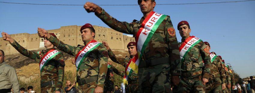 marcha de militares kurdos para apoyar la independencia de Irak referéndum 25 septiembre 2017