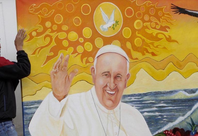 cuadro papa Francisco viaje Colombia para darle la bienvenida Nunciatura Bogotá 6 septiembre 2017