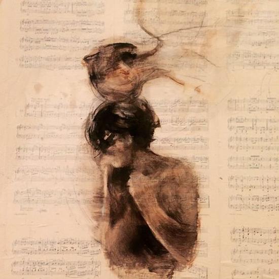 Charles Mackensy cuadro pintura ángel con joven