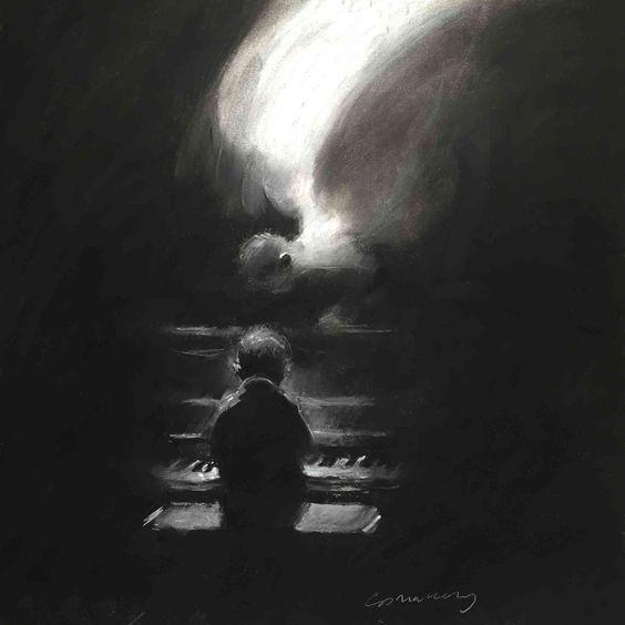 Charles Mackesy cuadro Beatitude niño pianista con ángel