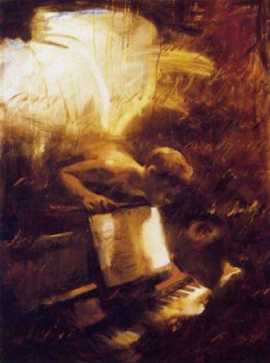 Charles Mackesy cuadro niño pianista con ángel
