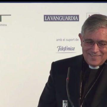 Josep Maria Soler abad de Montserrat durante almuerzo Barcelona Tribuna sobre Cataluña 16 octubre 2017