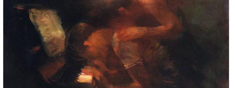 fragmento de Charles Mackesy cuadro niño pianista con ángel