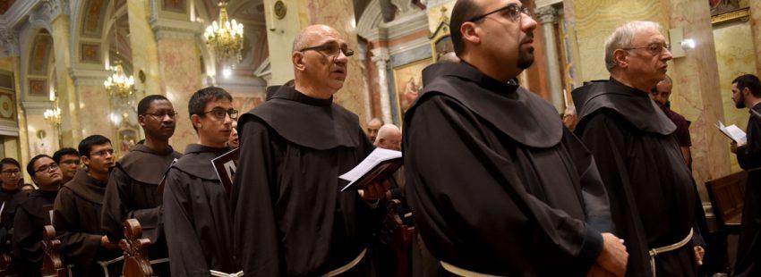 franciscanos de Tierra Santa durante una celebración por el 800 aniversario de su presencia