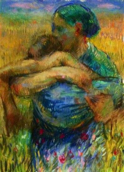 La hija pródiga con la madre, pintura de Charles Mackesy