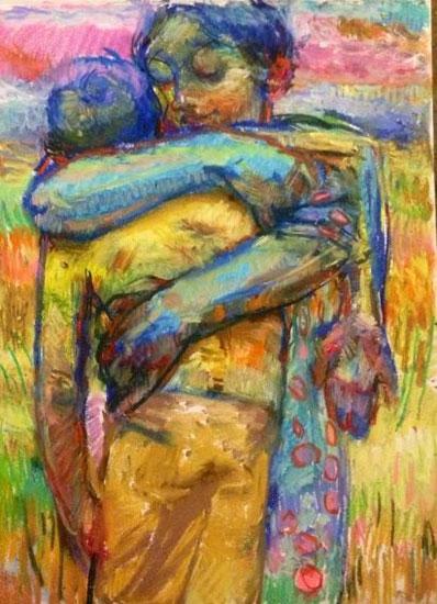 El hijo pródigo con la madre, pintura de Charles Mackesy