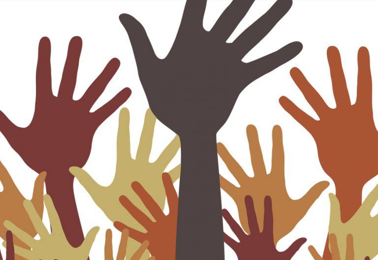 ilustración de manos de varios colores simbolizan la misión