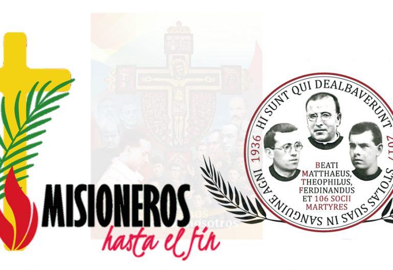 montaje de carteles y logos de la beatificación de 109 mártires Misioneros Claretianos en Barcelona octubre 2017