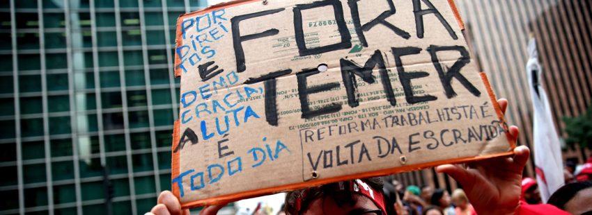 protestas manifestantes en Brasil contra el presidente Michel Temer acusado de corrupción octubre 2017