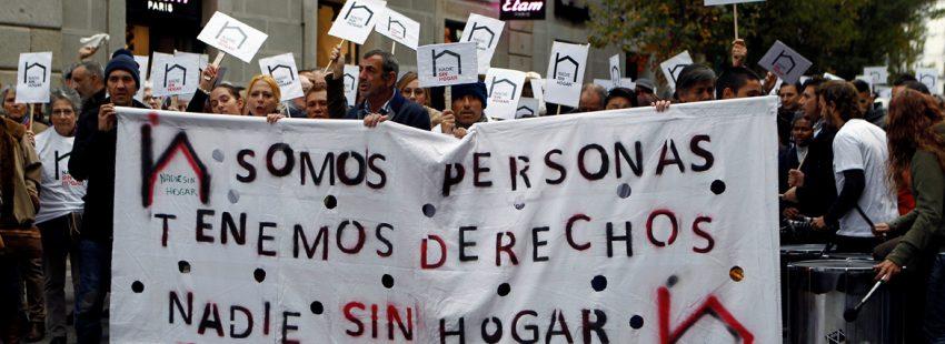 manifestación en Madrid a favor de las personas sin hogar campaña de Cáritas y otras entidades noviembre 2017
