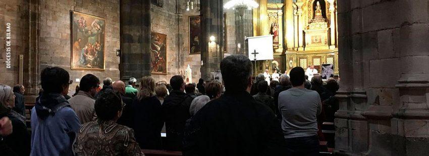 Uno de los instantes de la Misa del Día de la Memoria en la Basílica de Nuestra Señora de Begoña 9 noviembre 2017 Bilbao