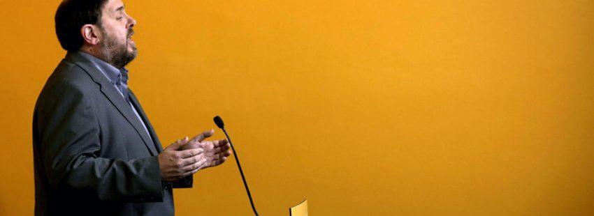 Oriol Junqueras, líder de la formación política catalana, ERC, en un acto de su partido en 2016