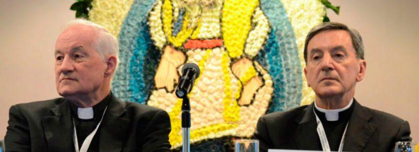Los cardenales Marc Oullet y Rubén Salazar, en un encuentro en Bogotá