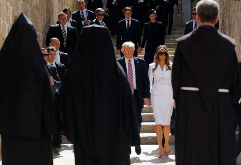 líderes cristianos reciben a Donald Trump en Jerusalén diciembre 2017