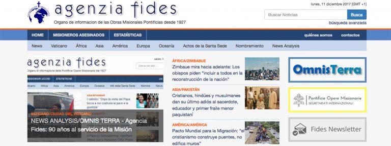 web de la Agencia Fides de noticias sobre la misión cumple 90 años 2017