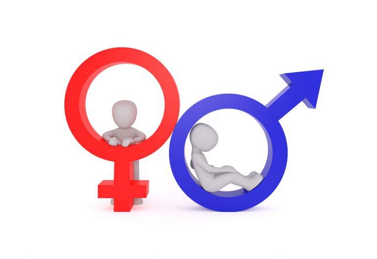 ilustración figuras humanas con símbolos de lo masculino y lo femenino