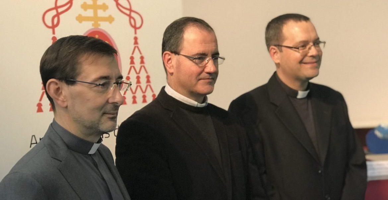 Los nuevos obispos auxiliares de Madrid José Cobo, Santos Montoya y Jesús Vidal/JB