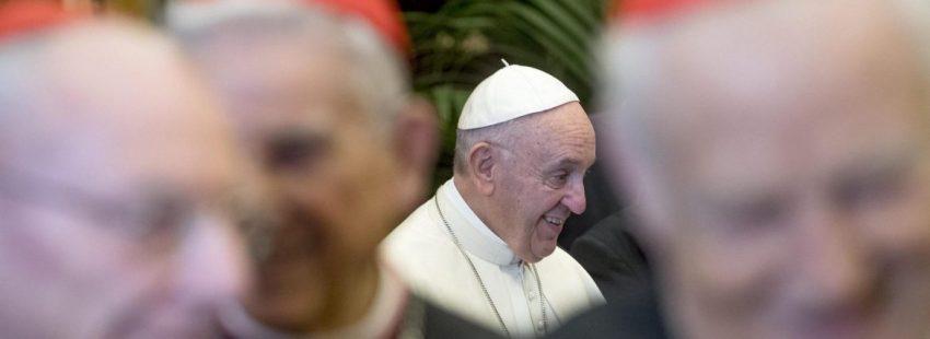 El Papa, durante el mensaje de Navidad a la Curia/EFE