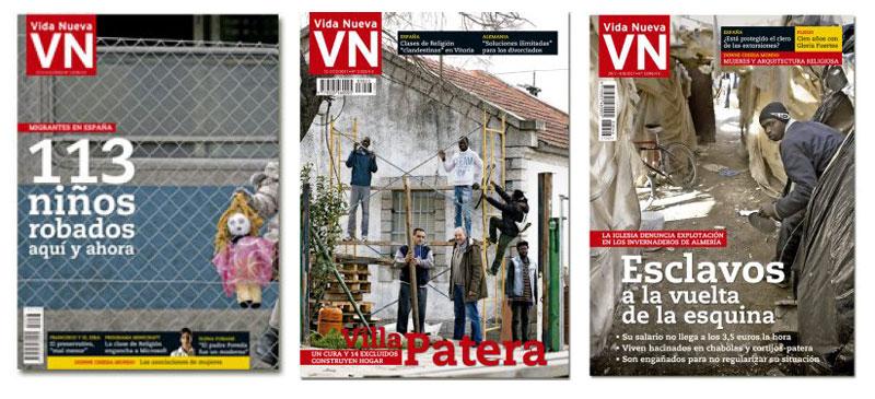 tres portadas de reportajes en Vida Nueva firmados por Miguel Ángel Malavia