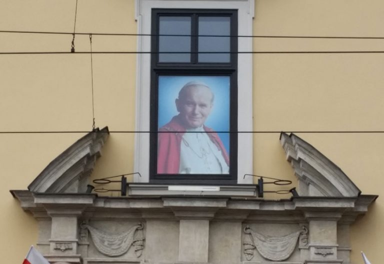 imagen de Juan Pablo II ventana del Palacio Arzobispal Cracovia