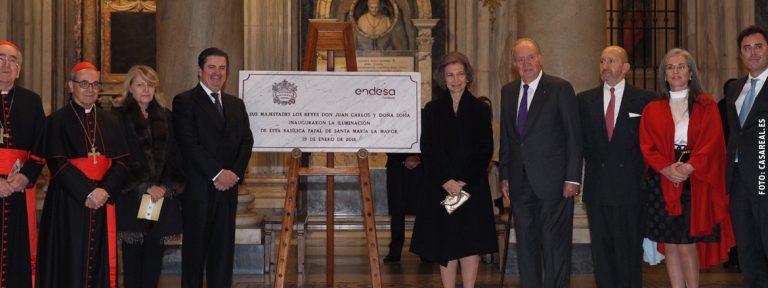 reyes Don Juan Carlos y Doña Sofía inauguración proyecto de iluminación basílica de Santa María la Mayor enero 2018