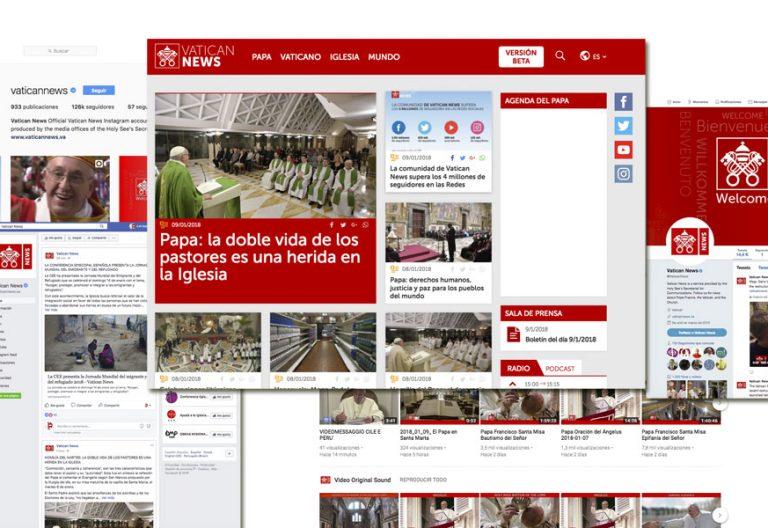 pantallazo con la web y redes sociales del Vaticano vaticannews