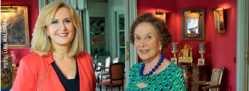 Nieves Herrero, junto a Carmen Franco en uno de sus encuentro-entrevista