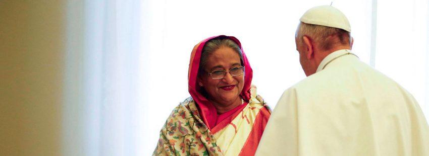 La primera ministra de Bangladesj, Sheikh Hasina, visita al papa Francisco en el Vaticano 12 de febrero de 2018