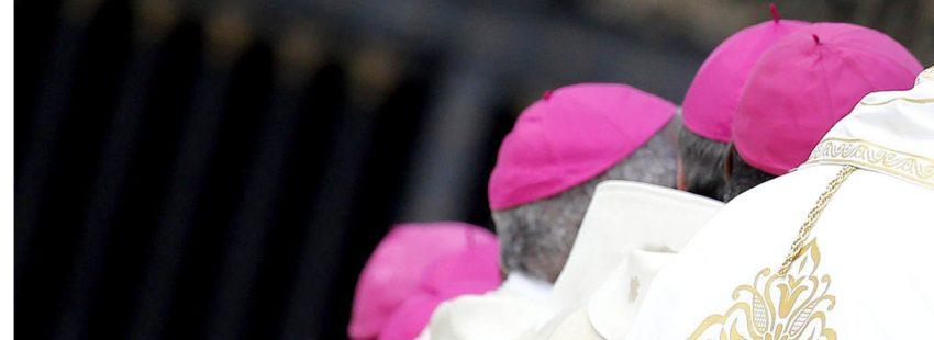 Un grupo de obispos, de espalda, participa en una ceremonia en el Vaticano