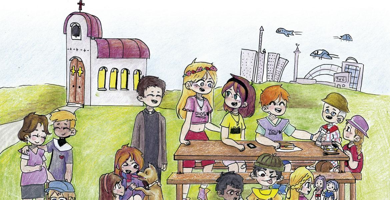 Dibujo de una niña sobre la Iglesia del futuro