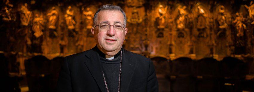 Ginés García Beltrán, en la catedral de Guadix en enero de 2018, tras conocerse su nombramiento como nuevo obispo de Getafe