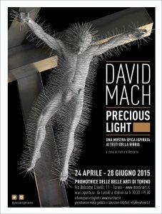 Cartel de la exposición precious light de david mach en torino, turín, italia
