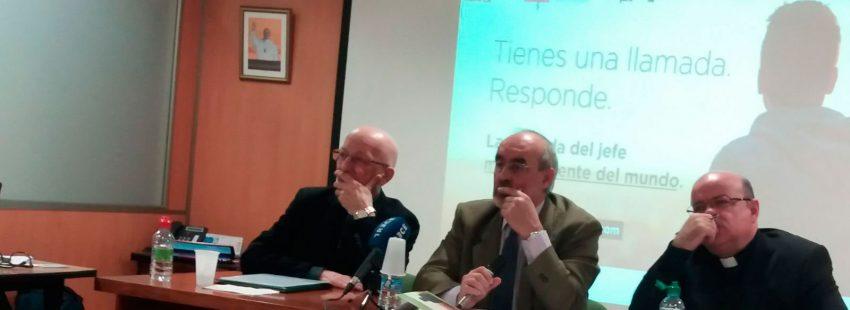 Anastasio Gil, Jesús Miguel Zamora y Sergio Requena en la presentación de la Jornada por la Oración de las Vocaciones 2018