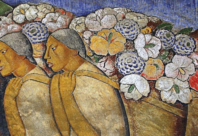 Un cuadro de mujeres cargando