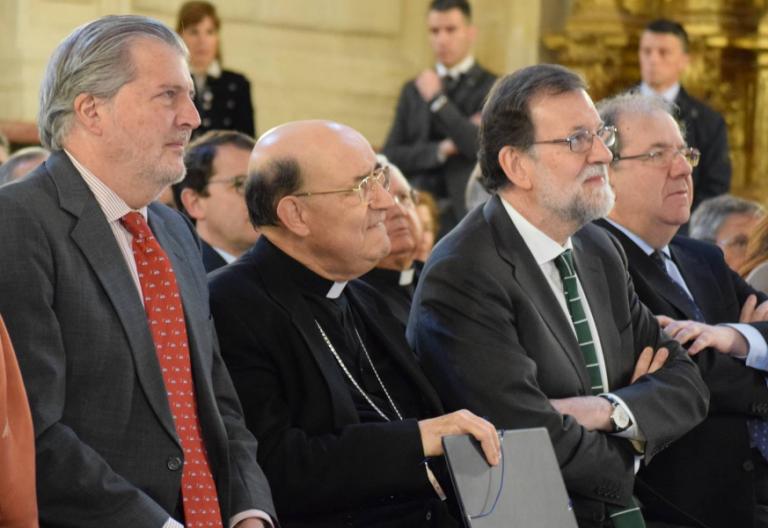 Fidel Herráez, junto a Mariano Rajoy y el ministro de Cultura Méndez de Vigo