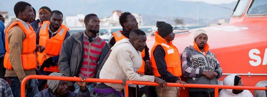 Un grupo de inmigrantes llegados a Motril (Granada)