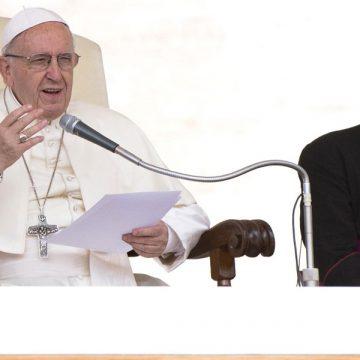 El papa hablando en la audiencia general sobre el joven rico y los mandamientos en junio de 2018