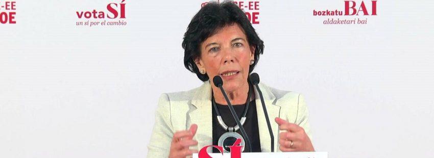 La ministra de Educación del PSOE, Isabel Celaá