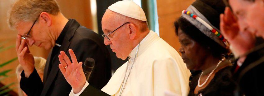 El papa Francisco en un discurso ante el Consejo Mundial de Iglesia en Ginebra junio 2018