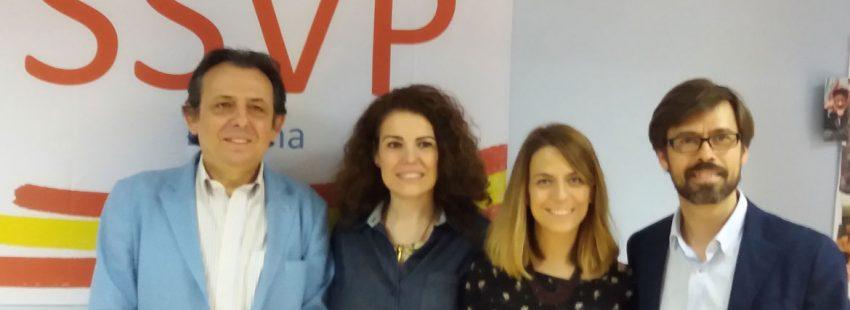 El presidente de la SSVP, Juan Manuel Buergo (a la izquierda), copn otros organizaodres del III Encuentro Internacional de Jóvenes durante su presentación, el 7 de junio de 2018