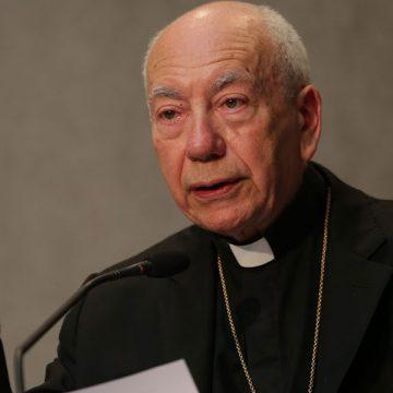 Francesco Coccopalmerio Secretario general del Pontificio Consejo de Textos Legislativos en la sala stampa presentando un documento oficial