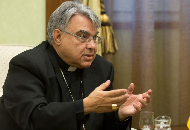 El obispo de Albano Marcello Semeraro en una entrevista con vida nueva en 2016