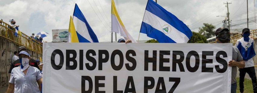 Manifestación en apoyo de los obispos de Nicaragua