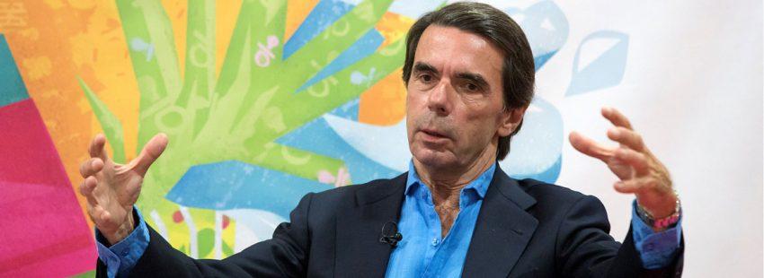 José María Aznar, expresidente del gobierno de España, asiste a un acto en el que habla