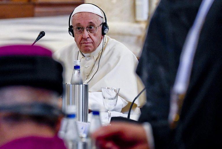 El papa Francisco durante su visita a Bari para una oración ecuménica con los líderes de las Iglesias de Oriente Medio