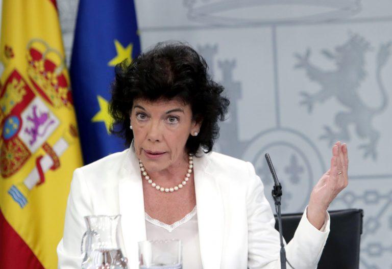 La portavoz del Gobierno, Isabel Celaá, durante la rueda de prensa que ofrece hoy en Madrid posterior al Consejo de Ministros. EFE/ Zipi