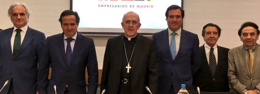 El cardenal carlos osoro visita la ceim que es la confederacion de empresarios madrileños