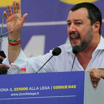 Matteo Salvini, ministro de Interior de Italia, en un acto de la Liga Norte
